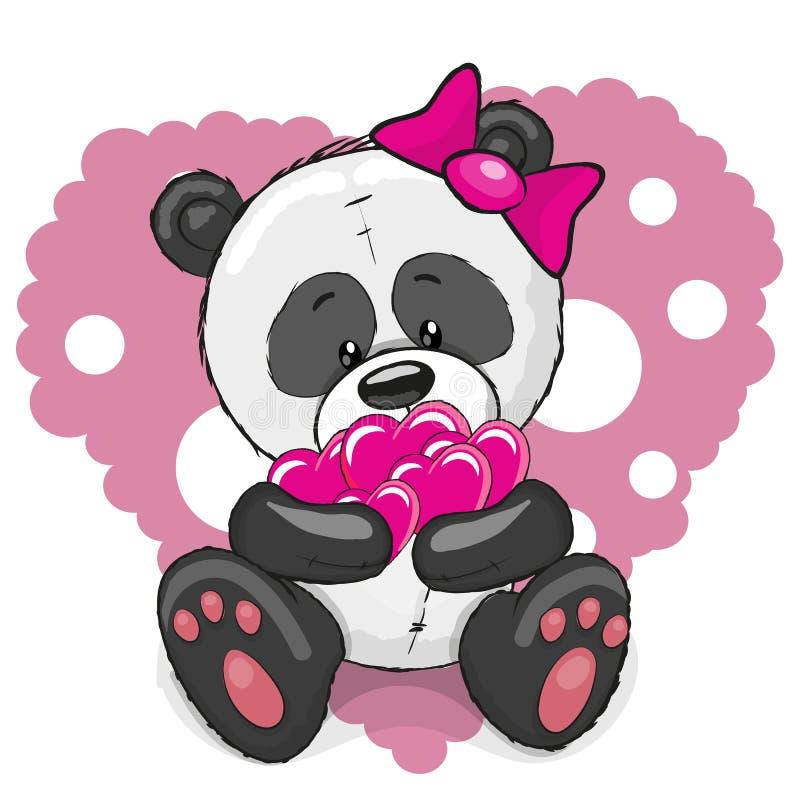 Panda avec des coeurs illustration stock