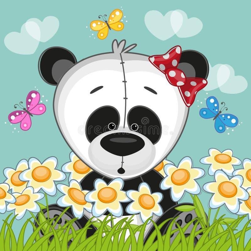 Panda avec des fleurs illustration stock