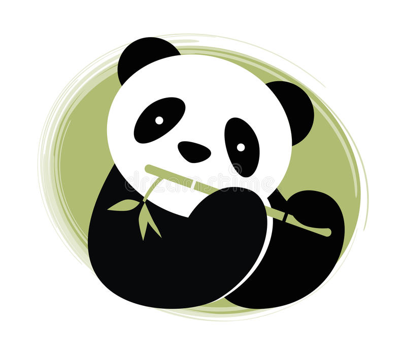 Panda avec le bambou. illustration stock