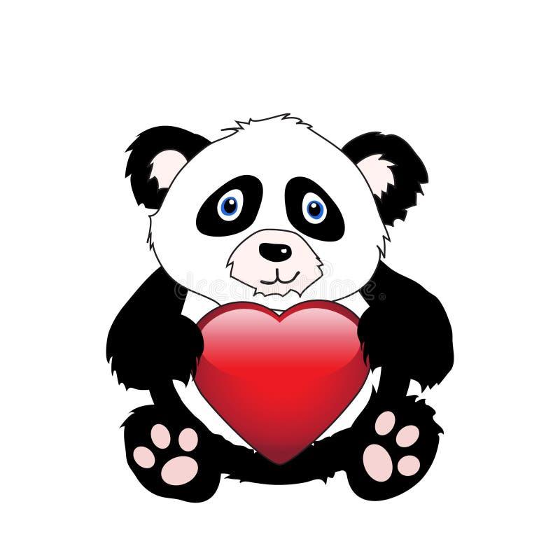 Panda avec le coeur illustration libre de droits