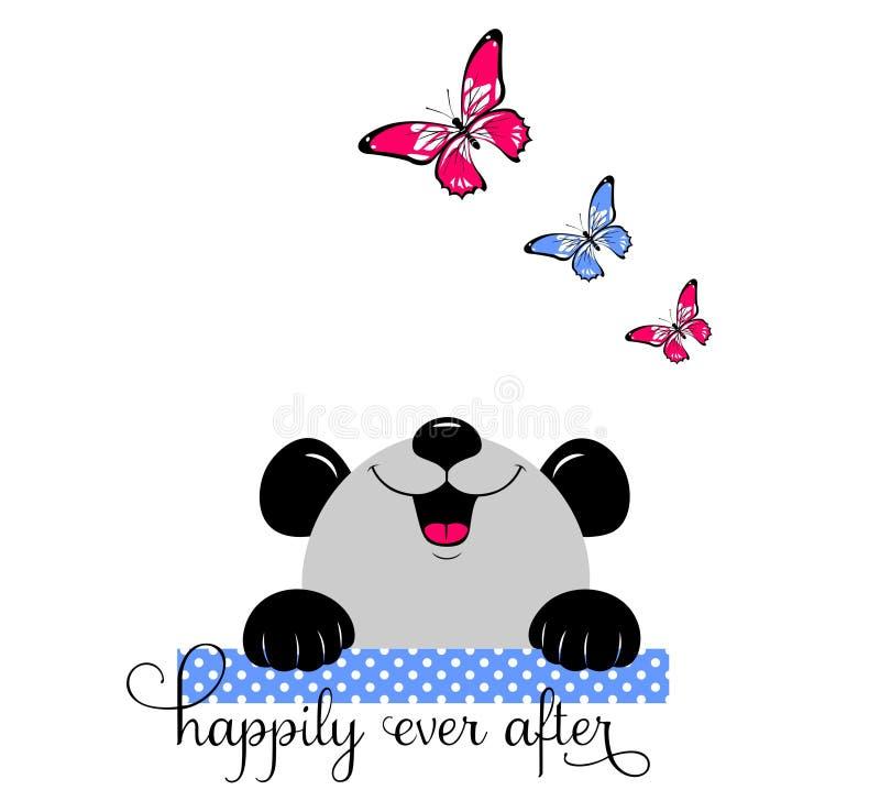 Panda Baby kijkt zeer gelukkig met vlinder royalty-vrije illustratie
