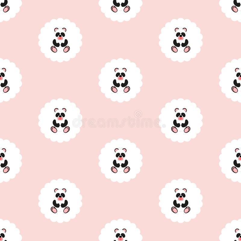 Panda baby. Pattern. Seamless illustration. Flat. stock illustration