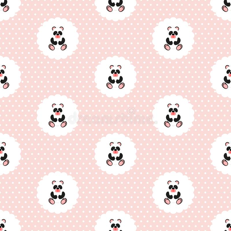 Panda baby. Pattern. Seamless illustration. Flat. vector illustration