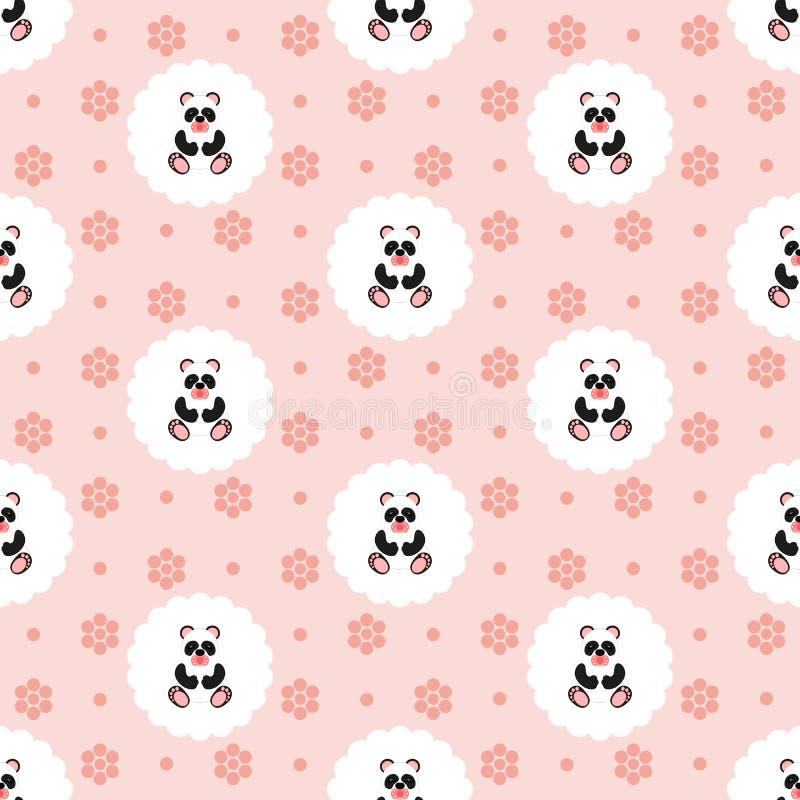 Panda baby. Pattern. Seamless vector illustration. Flat. stock illustration