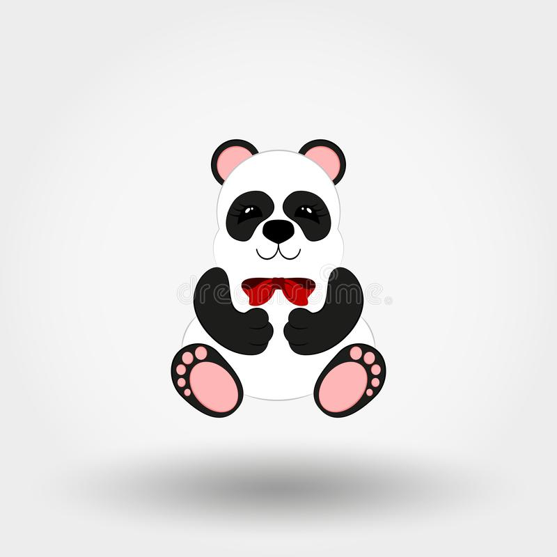 Panda baby with red bow. Vector. Flat royalty free illustration
