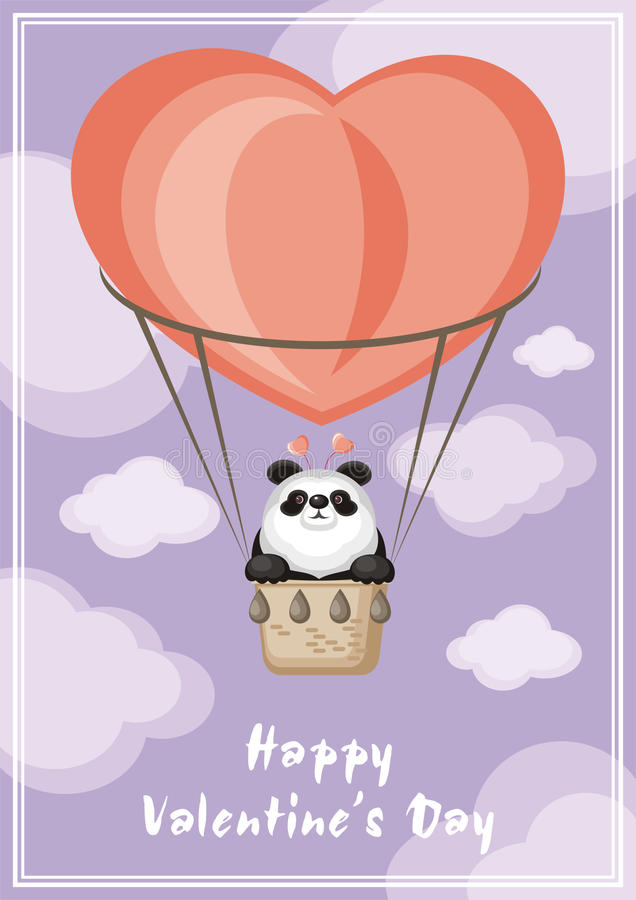 Panda and balloon. Greeting card happy Valentine`s day. Funny animal flying in a hot air balloon stock illustration