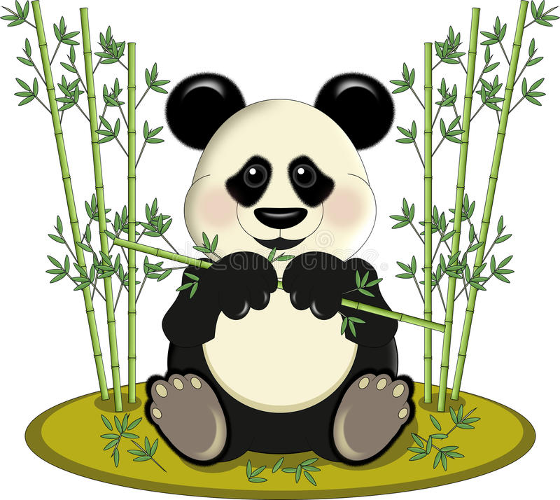 Download Panda with bamboo stock illustration. Image of chubby - 25212071