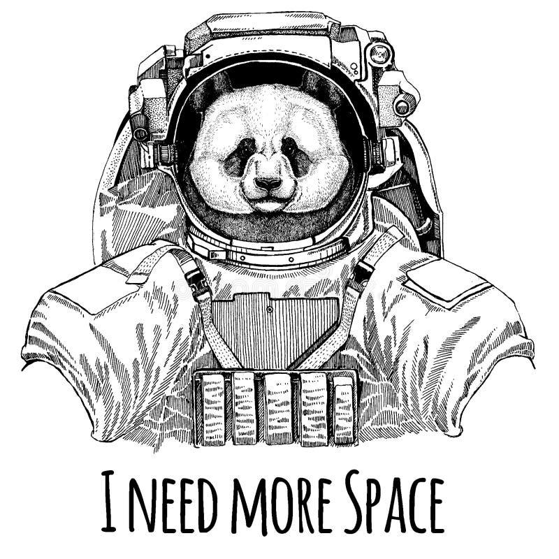 Panda, bambusa niedźwiadkowy astronauta Astronautyczny kostium Wręcza patroszonego wizerunek lew dla tatuażu, koszulka, emblemat, ilustracji