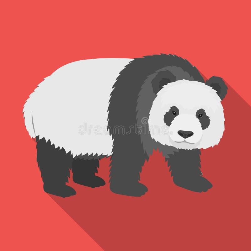 Panda, bambusowy niedźwiedź Panda, rzadcy gatunki zwierzę przerzedże ikonę w mieszkanie stylu symbolu zapasu ilustraci wektorowej ilustracja wektor