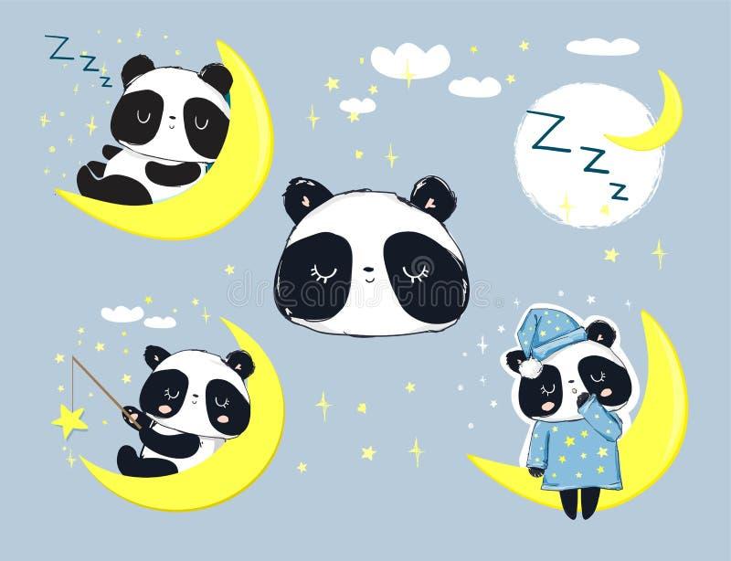 Panda Bear bonito que dorme no grupo da lua Ilustração do vetor ilustração royalty free