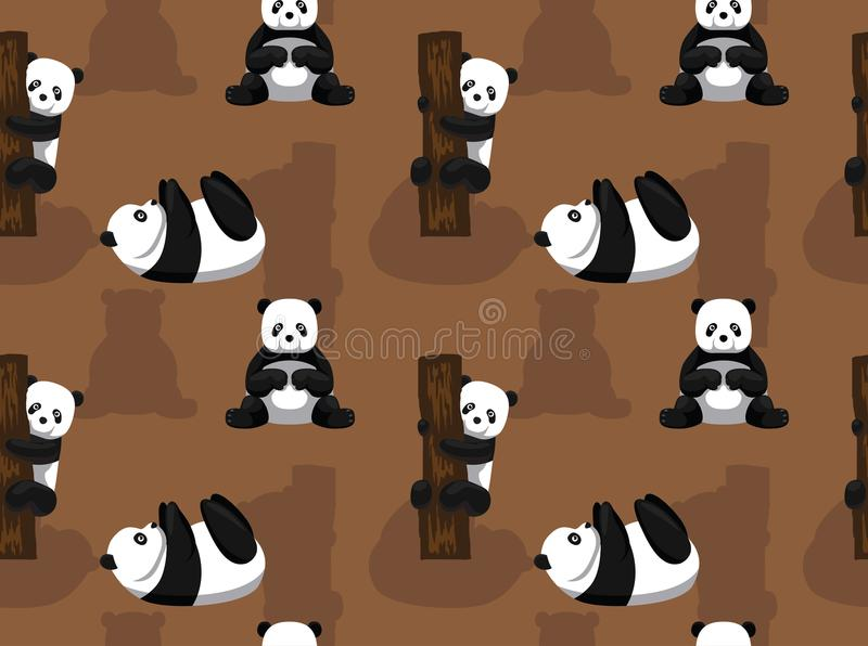 Panda Bear Brown Background Seamless tapet vektor illustrationer