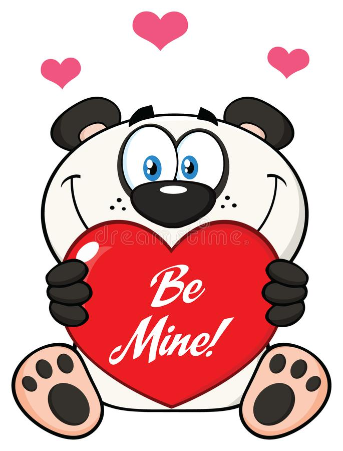 Panda Bear Cartoon Mascot Character bonito que guarda Valentine Love Heart With Text seja mim ilustração stock