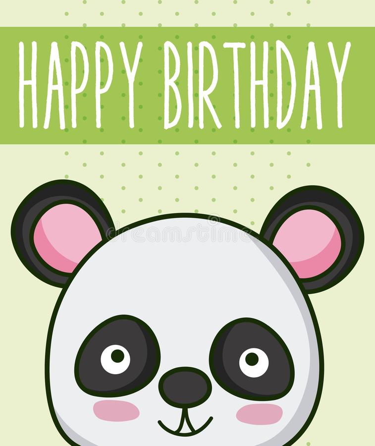 Panda bear in cute happy birthday card stock illustration