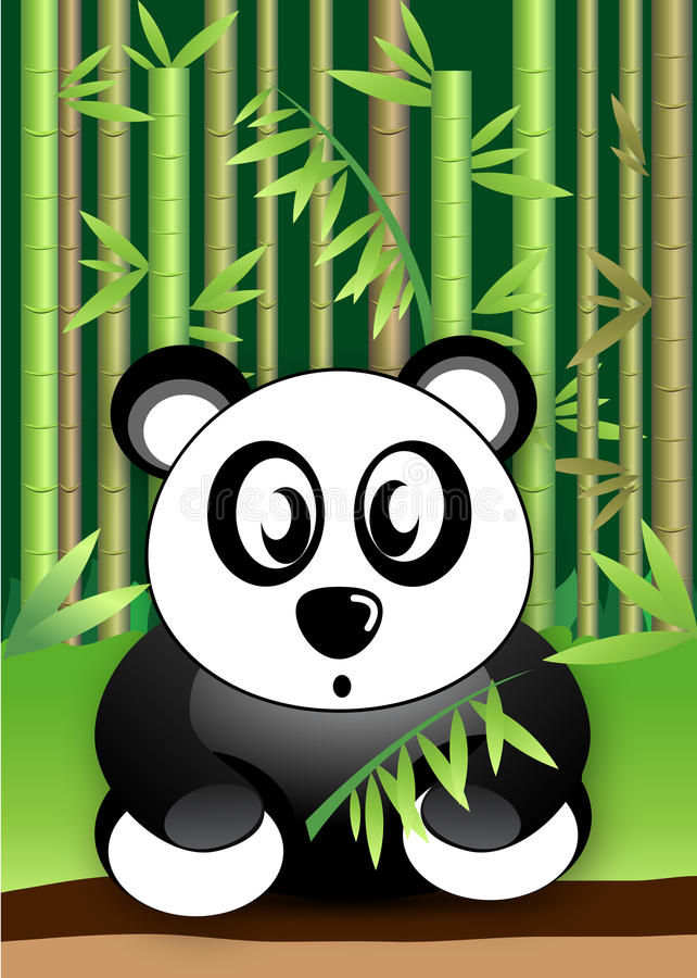 Panda Bear, der Bambus isst, lässt Vektor der wild lebenden Tiere vektor abbildung