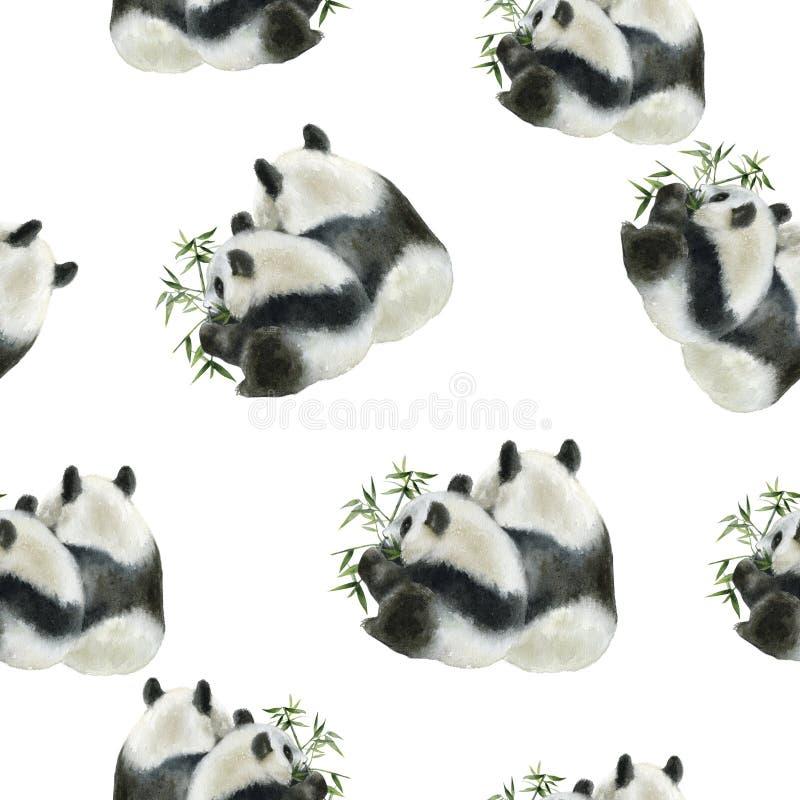 Panda bear drawn watercolor illustration. Seamless pattern. Seamless panda bear watercolor pattern. Hand drawn watercolor illustration vector illustration