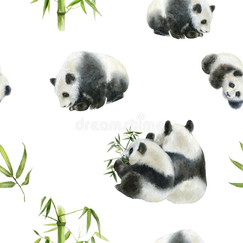 Panda bear drawn watercolor illustration. Seamless pattern. Seamless panda bear watercolor pattern. Hand drawn watercolor illustration stock illustration