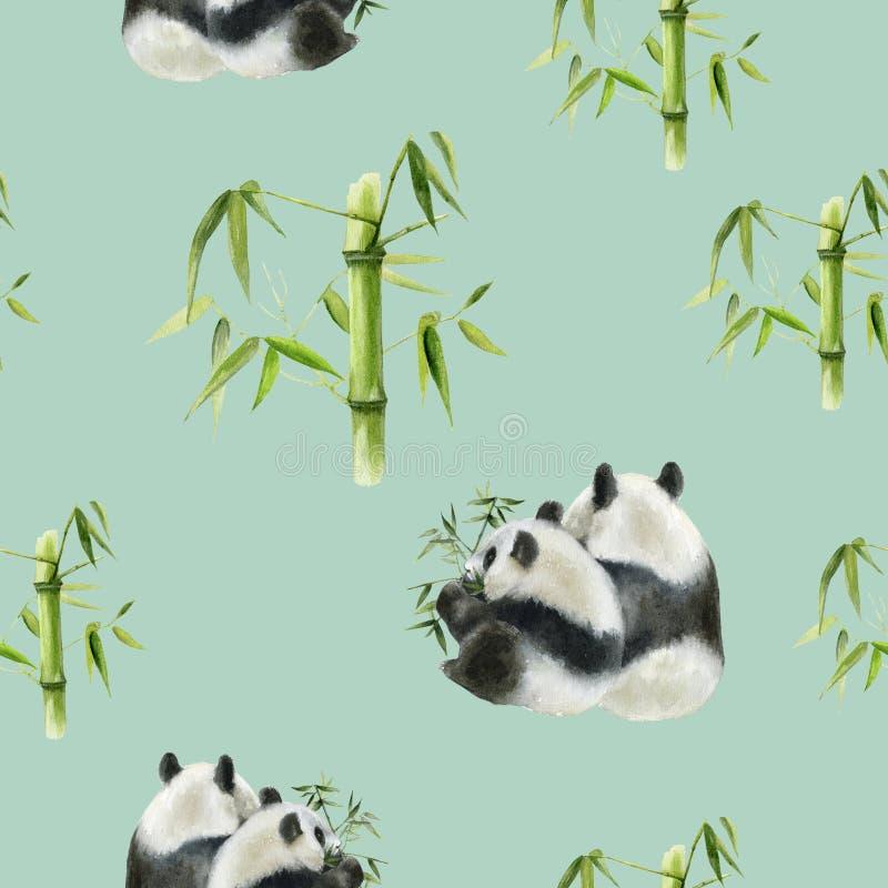 Panda bear drawn watercolor illustration. Seamless pattern. Seamless panda bear watercolor pattern. Hand drawn watercolor illustration stock photos