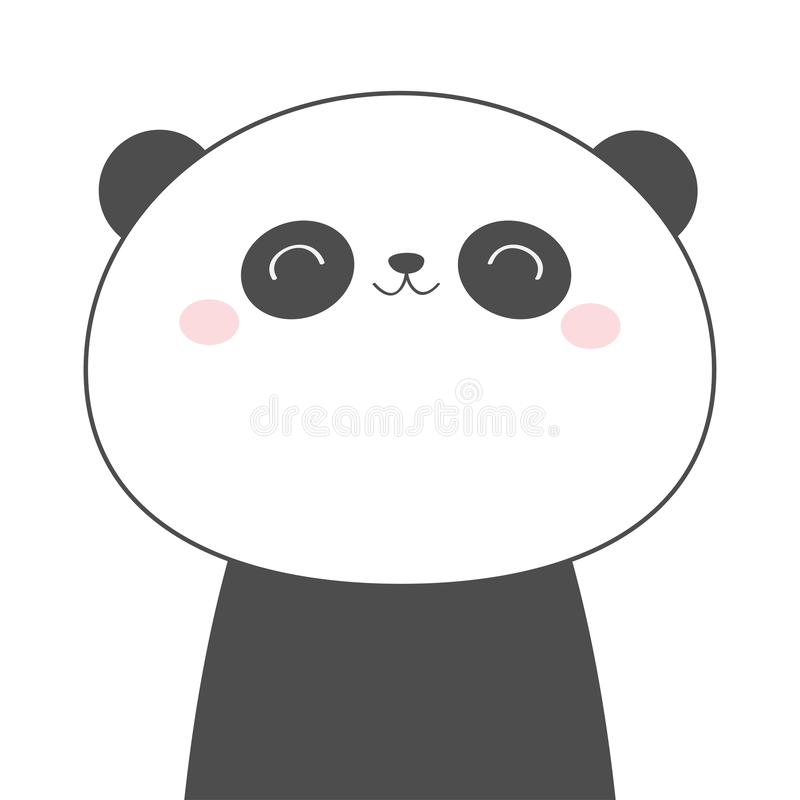 Panda bear face head line sketch icon. Kawaii animal. Cute cartoon character. Funny baby with eyes, nose, ears. Kids print. Love. Greeting card. Flat design stock illustration