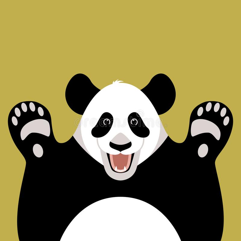 Panda bear face , vector illustration ,flat style , front royalty free illustration