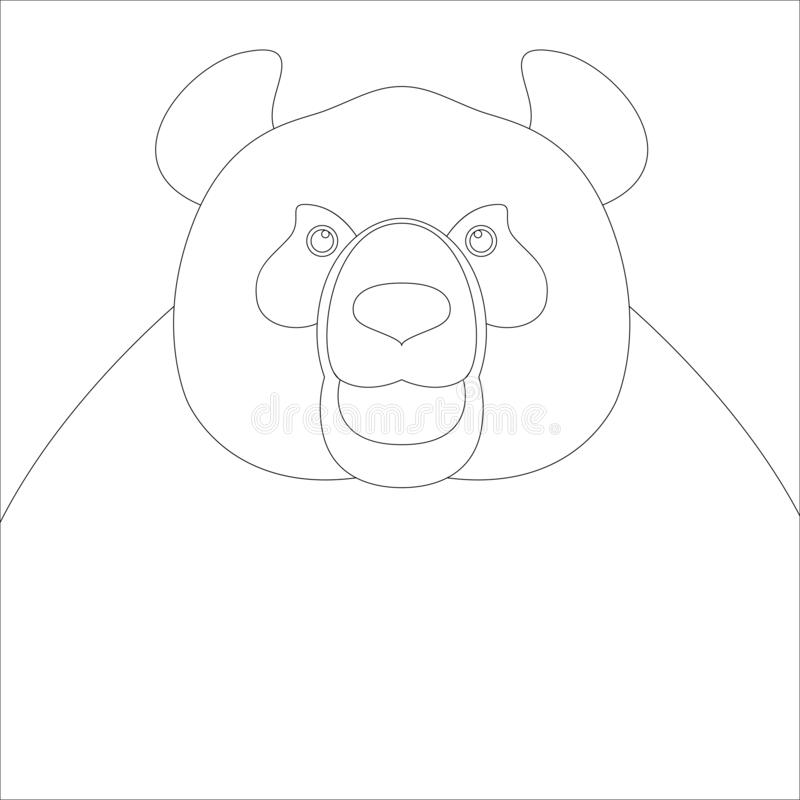 Panda bear face , vector illustration , lining draw vector illustration