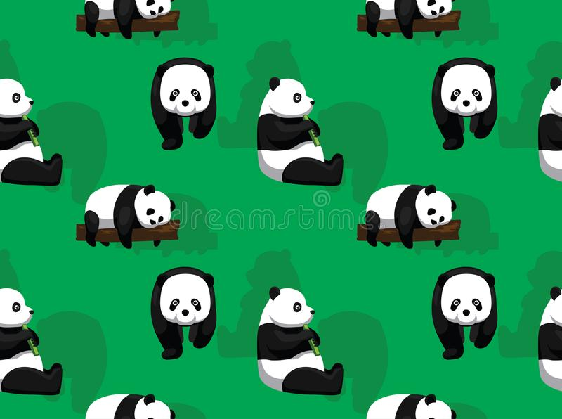 Panda Bear Green Background Seamless tapet stock illustrationer