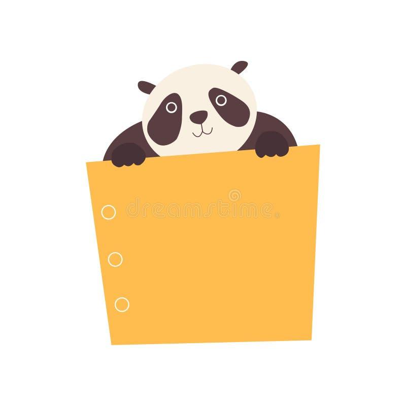 Panda Bear Holding Yellow Empty-Banner, Leuk Beeldverhaaldier met de Lege Vectorillustratie van de Tekenraad royalty-vrije illustratie