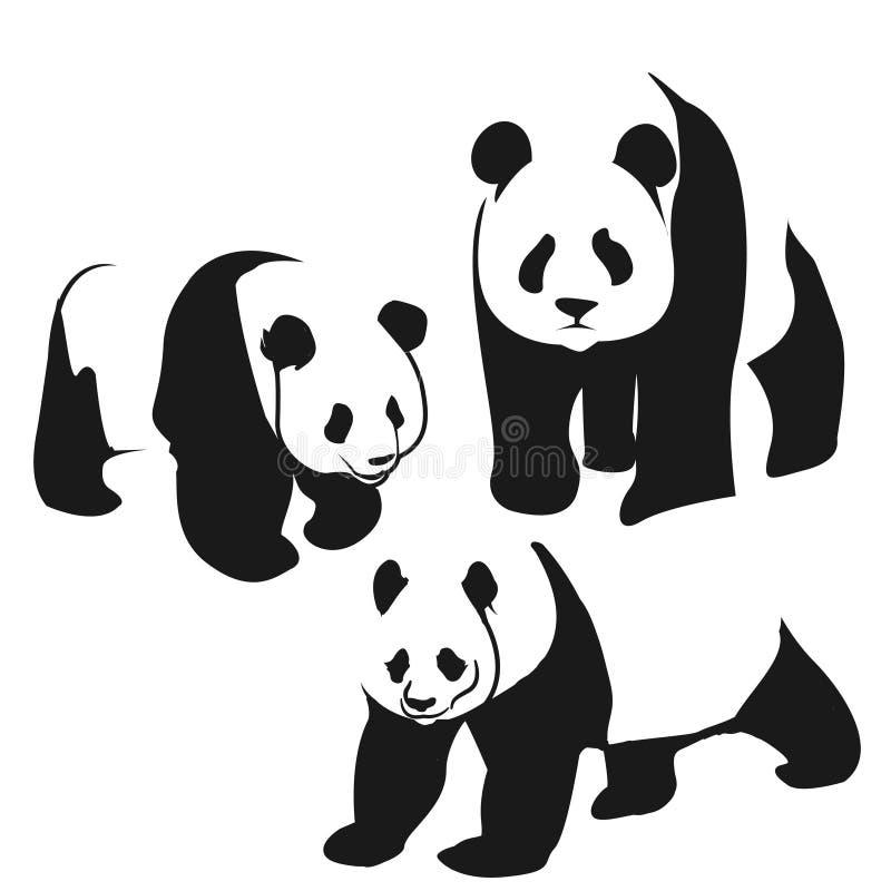 Panda bear illustration. Curious panda wildlife and panda bear vector character. Wildlife zoo asia panda bear and panda bear endangered species fat giant. Park stock illustration