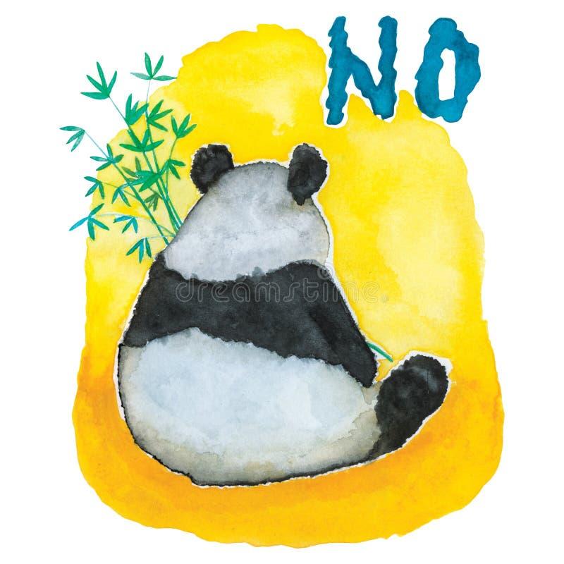 Panda Bear insouciant mangeant le bambou avec une AUCUNE attitude illustration de vecteur