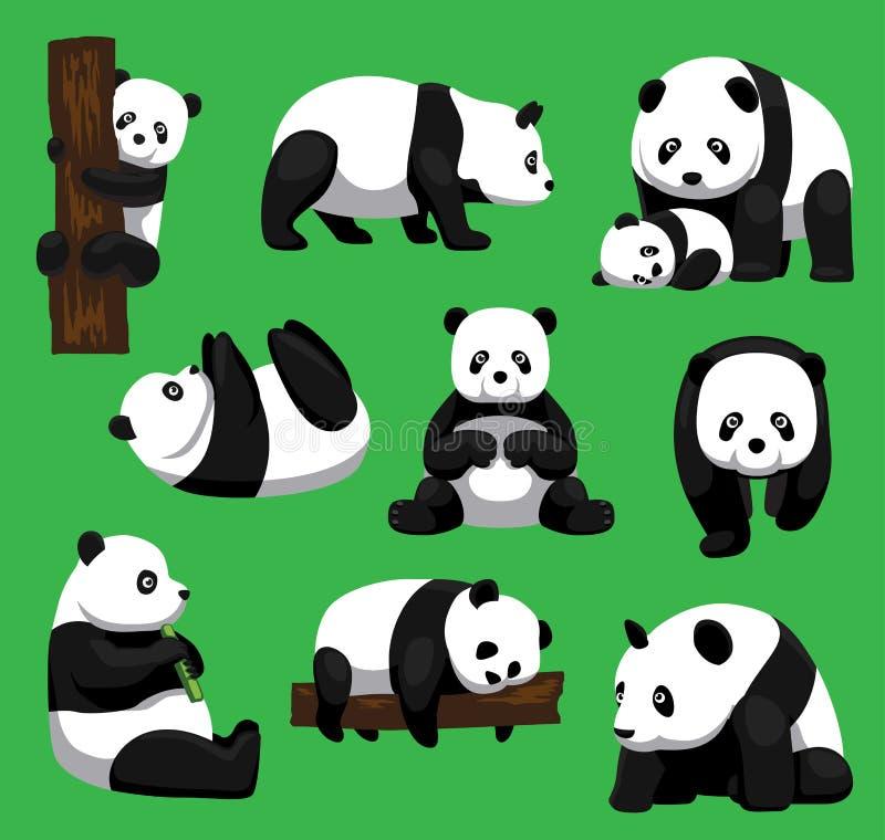 Panda Bear Nine Poses Cartoon Vector Illustration stock illustration