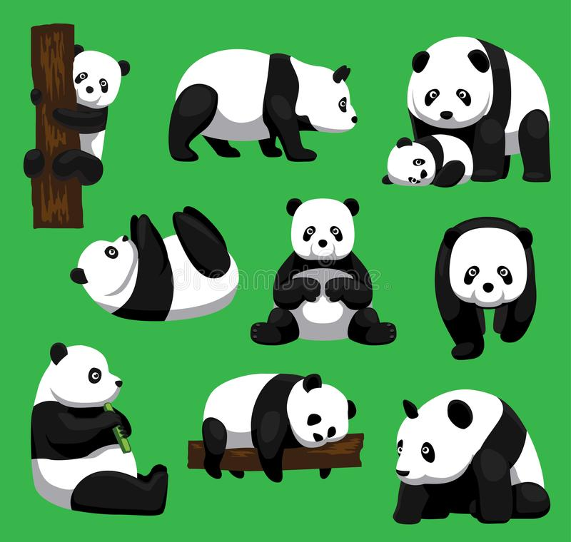 Panda Bear Nine Poses Cartoon vektorillustration stock illustrationer