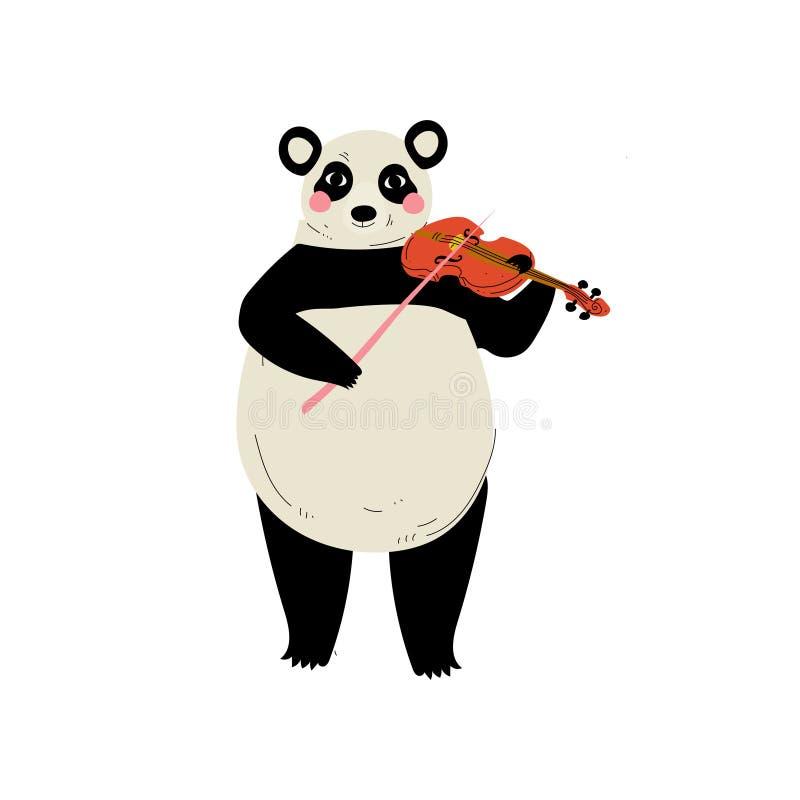 Panda Bear Playing Violin, illustration animale de vecteur d'instrument de Character Playing Musical de musicien de bande dessiné illustration stock