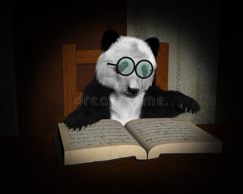 Panda Bear Read Book, Reading Illustration royalty free illustration