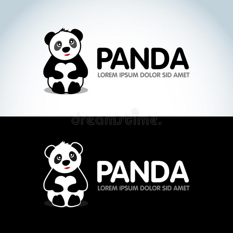 download panda bear silhouette logo design template funny lazy logo panda animal logotype concept icon