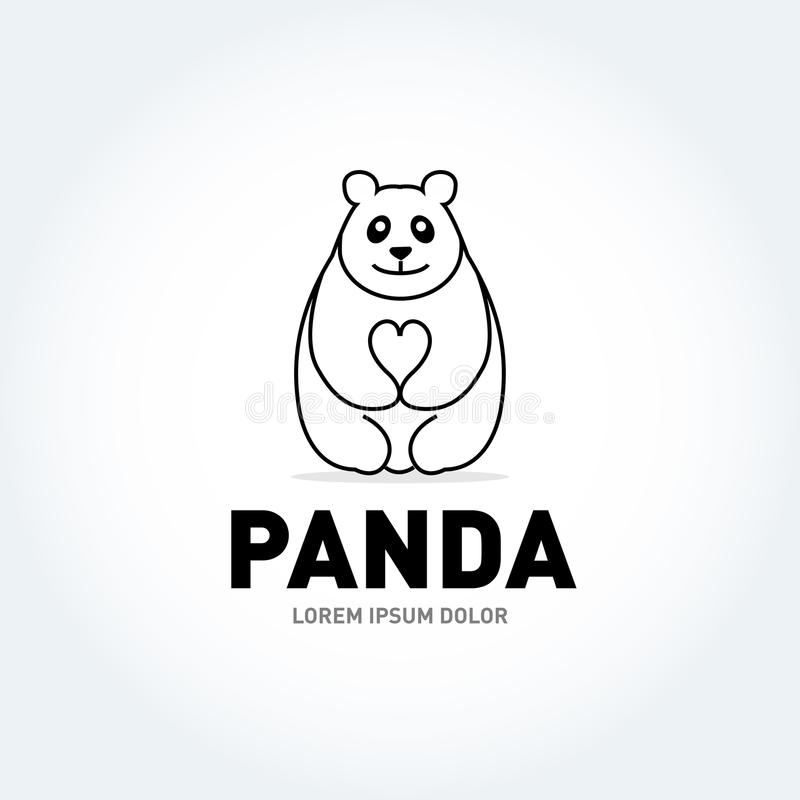 Panda bear silhouette Logo design vector template. Funny Lazy Logo Panda animal Logotype concept icon.Isolated vector illustration. Panda bear silhouette Logo vector illustration