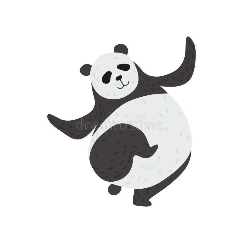 Panda Bear sveglio, carattere animale adorabile divertente divertendosi l'illustrazione di vettore royalty illustrazione gratis