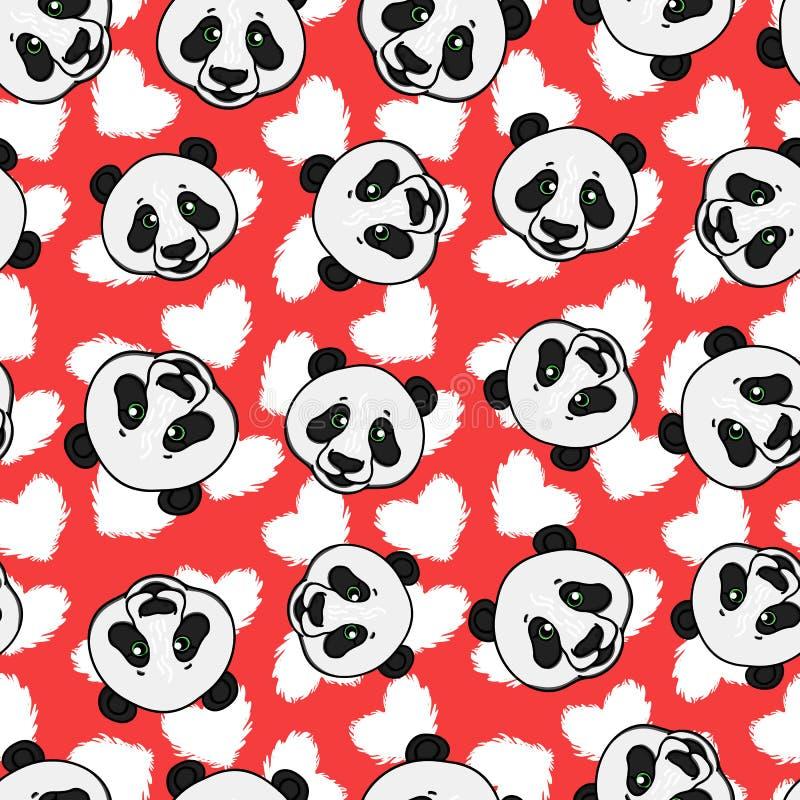 Panda bezszwowy wzór z sercem Wektorowa ręka rysująca ilustracja na czerwieni royalty ilustracja