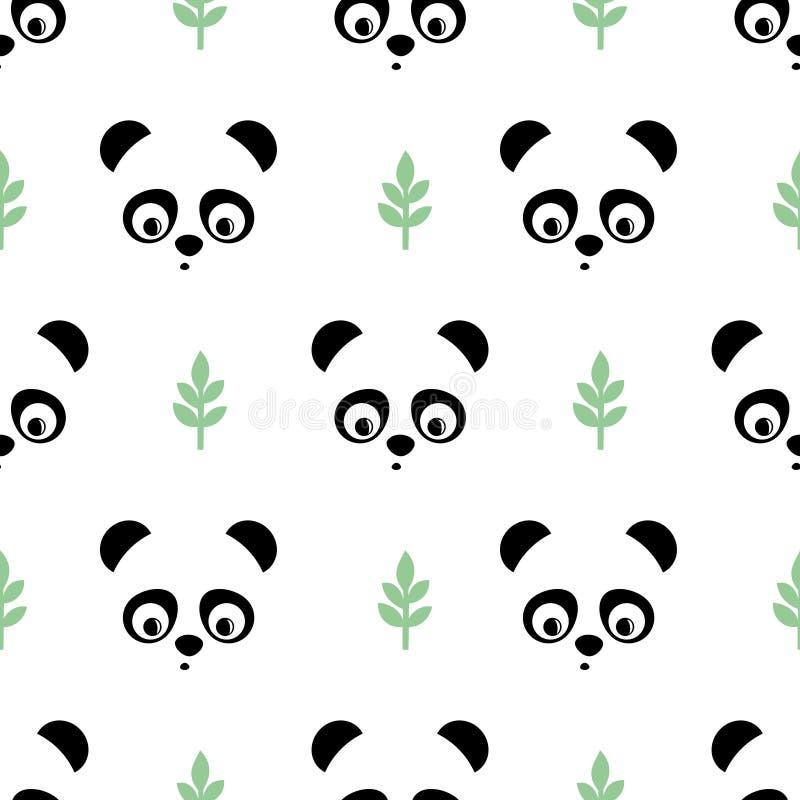 Panda bezszwowy wzór z zielonymi gałązkami Śliczny wektorowy tło z dziecka zwierzęcia pandą royalty ilustracja
