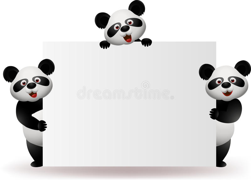 Download Panda with blank sign stock vector. Illustration of funny - 25129989