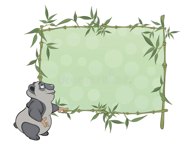 Download Panda With Blank Sign Cartoon Stock Illustration - Illustration: 43048870