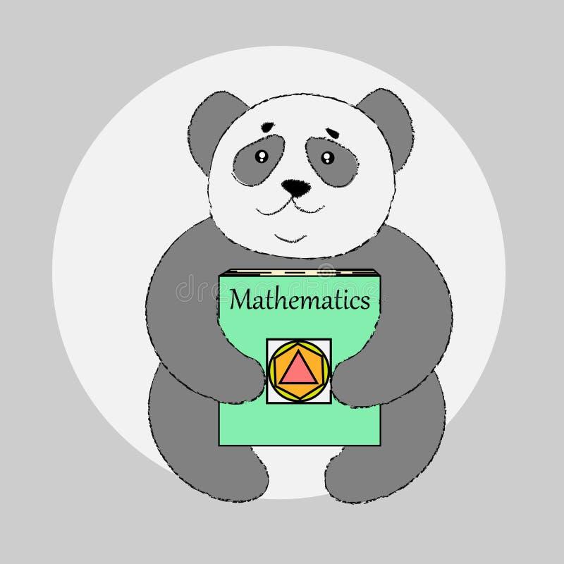 Panda bonito com o livro de escola na escola ou no jardim de infância imagem de stock