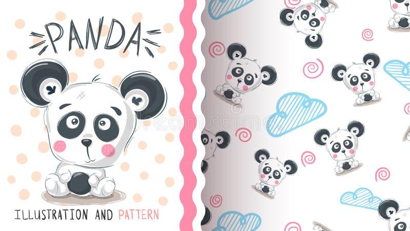 Panda bonito da peluche - teste padrão sem emenda ilustração stock