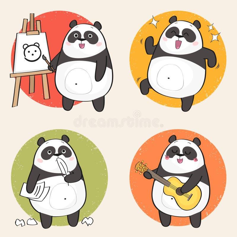 Panda bonito da tração da mão ilustração do vetor