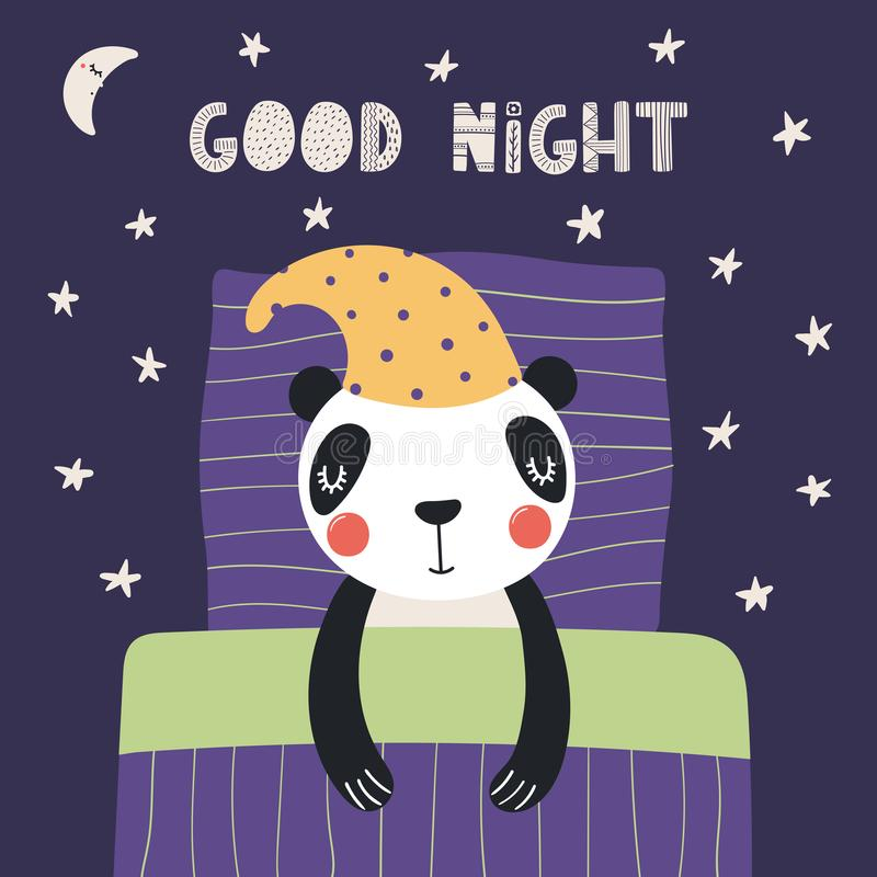 Panda bonito do sono ilustração royalty free