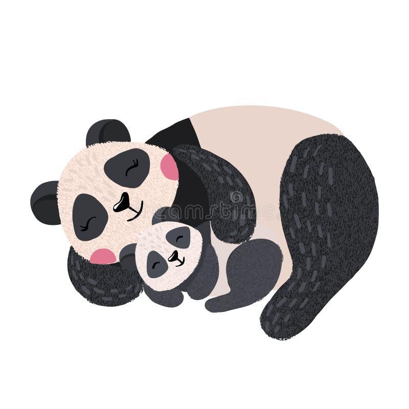 Panda bonito do sono com o bebê isolado no branco ilustração royalty free