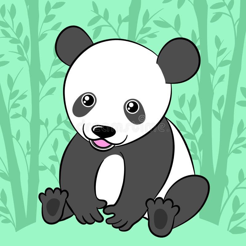 Panda bonito dos desenhos animados em seu habitat natural ilustração royalty free