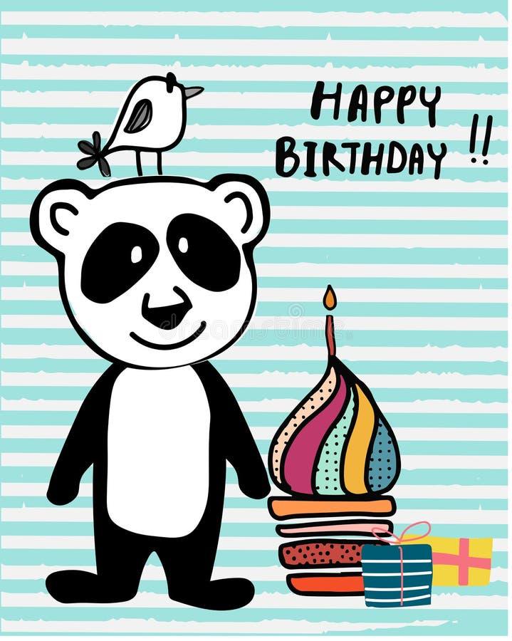 Panda bonito e pássaro da garatuja com o bolo colorido e a vela do copo, apropriados para a impressão do cartão do feliz aniversa ilustração royalty free