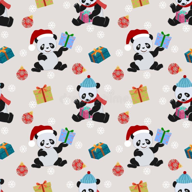 Panda bonito e presente com teste padrão do chapéu do Natal ilustração stock