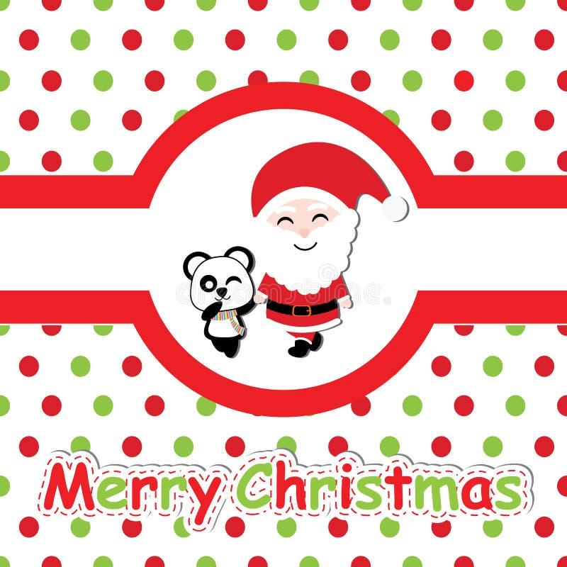 A panda bonito e Santa Claus no fundo do às bolinhas vector desenhos animados, cartão do Xmas, papel de parede, e cartão ilustração do vetor