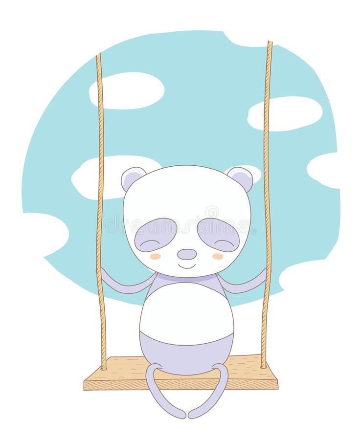 Panda bonito em um balanço ilustração stock