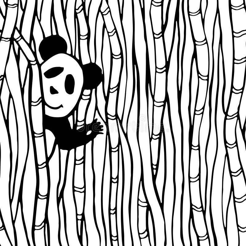 Panda bonito na página de bambu do livro para colorir da floresta O vetor caçoa a ilustração ilustração royalty free